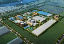 Visualization of an aerial view of the Nanchong Chemical Industrial Park sewage treatment plant.