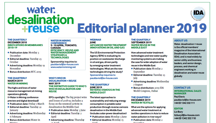 Editorial calendar sales asset - Water. desalination + reuse